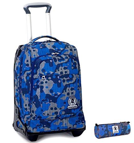 Trolley tech invicta + portapenne - camouflage blu - 2in1 carrello sganciabile zaino 34 lt scuola e viaggio