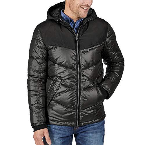 TOM TAILOR Denim Herren Jacke Outdoor Modischer Breiter Steppung, Schwarz (Black 29999), Medium (Herstellergröße: M)