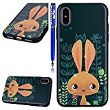 Cover Apple iPhone X/iPhone 10, Custodia iPhone X Silicone Morbido, EUWLY Custodia in Silicone TPU Pittura in Rilievo Gomma Cover Case Ultra Sottile Creativo Bello Colorate Sollievo Dipinto Silicone Cover Resistente Antiurto e Antigraffio Protettiva Cassa del Telefono Bumper Ultra Slim Soft Gel Silicone Nero TPU Back Case Protezione Posteriore Antiscivolo Protettivo Cellulare Custodia Shell Caso Case Per iPhone X + Stilo Penna Touchscreen-Coniglio Oro