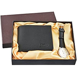 Souarts Mens Artificial Leather Quartz Analog Wrist Watch Wallet Gift Set for Valenties Day Black