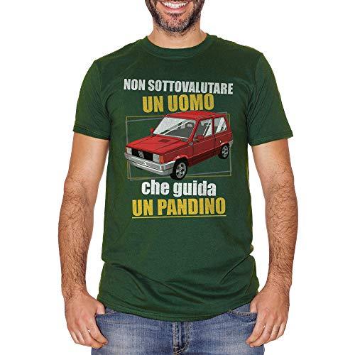 T-Shirt Non Sottovalutare Un Uomo Che Guida Un Pandino-Panda Fiat - Social Choose ur Color - Uomo-XL-Verde Bottiglia