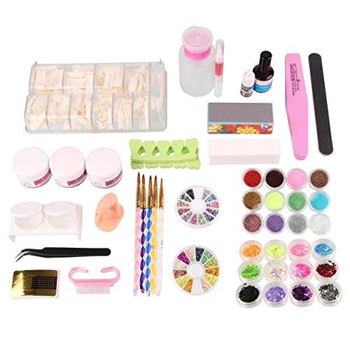 Beauty7 Kit de Nail Art Pour Ongle Faux Complet - 24 accessoires Poudre Pince Brosse Block Liquide Acrylique Strass Manucure