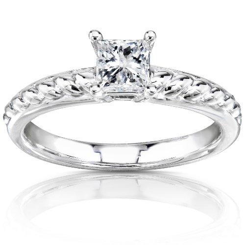 Kobelli Damen -  14 Kt  Weißgold Prinzessschliff   Feines Weiß/Top Wesselton (G) - Weiß/Wesselton (H) Weißer Diamant - Engagement Diamant-ring Tiffany