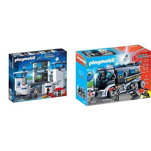Playmobil 6872 - Polizei-Kommandozentrale mit Gefängnis &  9360 - SEK-Truck mit Licht und Sound Spiel (Polizei Lego Truck)