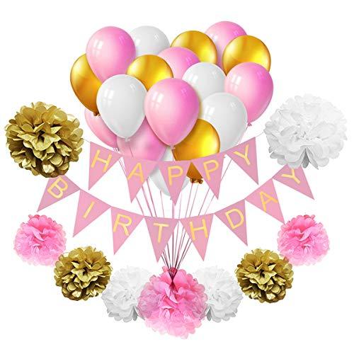 oration TankerStreet Happy Birthday Wimpelkette Banner Party Supplies Luftballons Latex Seidenpapier Pompoms Wabenbälle für Dekor Feier Mädchen Jungen Teenager Rosa Gold Beige Weiß ()