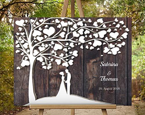 Hochzeitsgästebuch Hochzeitsbaum von CristalPainting - Für 50 Gäste Wedding Tree Braun Gästealbum Hochzeitsalbum Leinwanddruck auf Keilrahmen 70x50