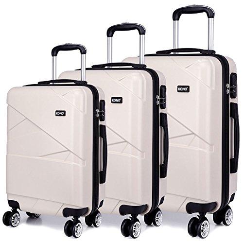 Kono Custodia da viaggio trolley rigido in ABS con 4 ruote, set di valigie con serratura a combinazione 20'24' 28' (Beige, Set 3 pezzi)
