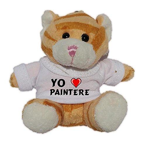 Gato marrón de peluche (llavero) con Amo Paintere en la camiseta (nombre de pila/apellido/apodo)