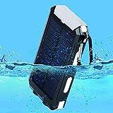 10000mAh Solar Power Bank, Solar Ladegerät, Externer Akku mit superhelle Taschenlampe, Akku pack für Handy (Schwarz-Weiß) - 4