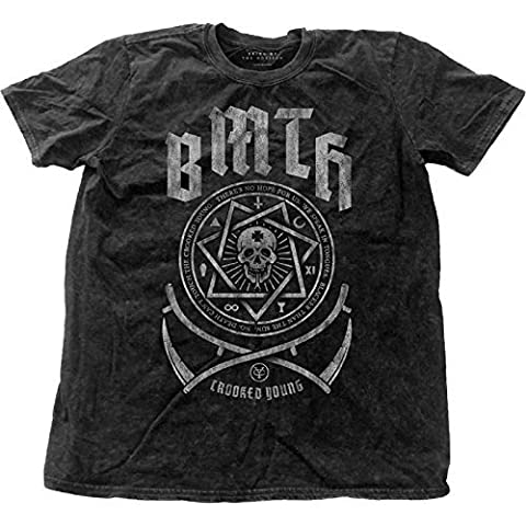 Bring Me The Horizon T Shirt Crooked young officiel Homme distressed Snow Wash