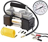 Lescars Mobiler Luftkompressor: Mobiler Luft-Kompressor, Manometer, 12 V, 100 psi, 288 Watt, 3 Adapter (12 V Kfz Druckluft Kompressoren)