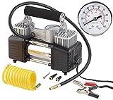 Lescars Auto Luftpumpe: Mobiler Luft-Kompressor, Manometer, 12 V, 100 psi, 288 Watt, 3 Adapter (12 V Kfz Druckluft Kompressoren)