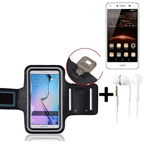 K-S-Trade TOP Set für Huawei Y5 II Single SIM Neopren Jogging Armband Sportarmband Oberarmband für Huawei Y5 II Single SIM schwarz mit Reflektor Streifen + Ohrstöpsel. Fitness Lauf Armband