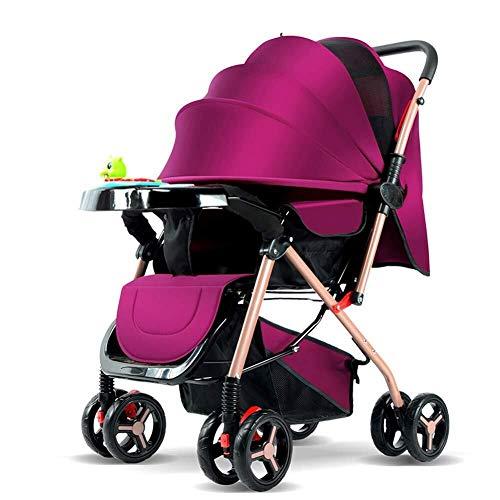 HZC Kinderwagen faltbare Kinderwagen Buggys Zwei-Wege-sitzen und legen leichte Kinderwagen for Neugeborene und Kleinkinder (Farbe : Lila)