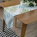 Tischdecke von chezmax mit Blumenaufdruck aus Polyesterfaser, wendbar, Picknick-Tischläufer für Partys, Bankette, als Dekoration für drinnen und draußen. Tischdecke/Tischläufer mit lange Fransen für den Esstisch, in blau 30,2cmx 180,1cm, Muster 3, 30cm*180cm/11.9
