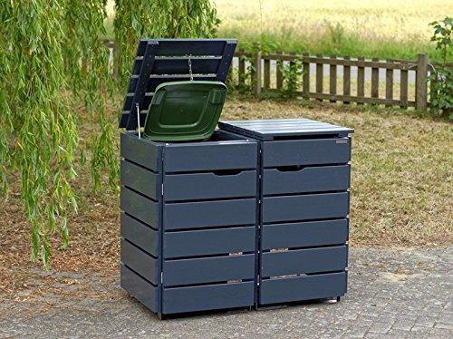 2er Mülltonnenbox / Mülltonnenverkleidung 240 L Holz, Deckend Geölt Anthrazit Grau - 3