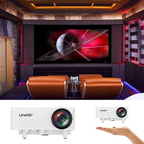 UHAPPY U18 Mini Multimedia LED Video Projector 500 Lumens 16770K Home Theater Beamer with VGA HDMI USB AV SD  US  White