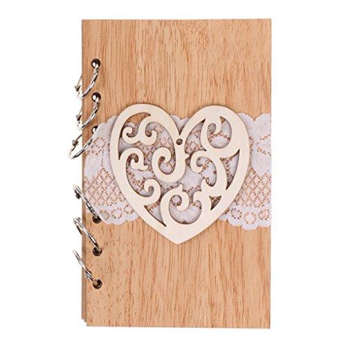 Hotaluyt Rom Brief aus Holz Hochzeitsdeko aushöhlen Notebook-Spitze-Partei-Geschenke Verpflichtungs-Arbeitsbuch (Engagement Foto-buch)