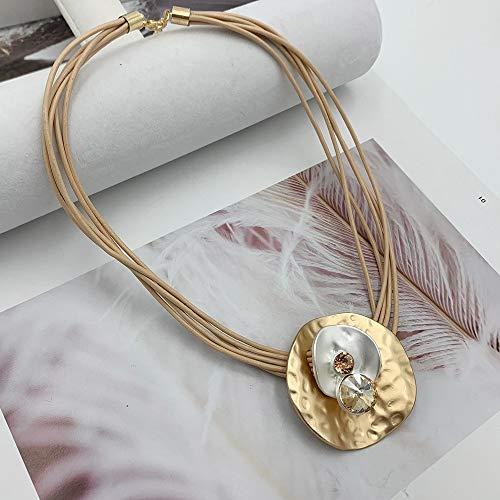 XZZZBXL Damen Halskette,Lrregular Runde Legierung Anhänger Collier Halskette Leder Kette Multilayer Kurze Halsketten Strass Schmuck