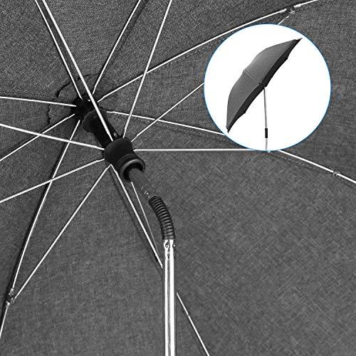 Imagen para Sombrilla Carrito Bebe Universal Paraguas Carrito Bebe Diámetro 73cm Anti Rayos UV 50+ con Un Mango de Paraguas- Gris