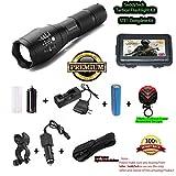 SeddyTech LED-Taschenlampe-Set Wasserabweisend hell 2000Lumen, Wiederaufladbare Batterien, Ladegerät, verstellbarer Zoom, 5Modi, Holster und Fahrradhalterung