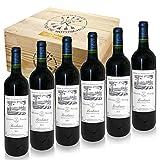 6 Flaschen feinster Barons de Rothschild (Lafite) in edler Weinkiste aus Holz als edle Geschenkidee mit Ihrer individuellen Gravur
