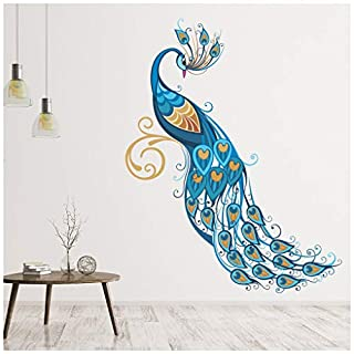 azutura Blue Peacock Wall Sticker Birds & Feather Wall Decal Art Girls Living Room Decor available in 8 Sizes Large Digital