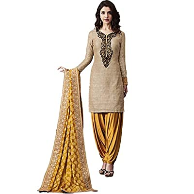 Impressed Collection Beige Georgette Party Wear Salwar Kameez