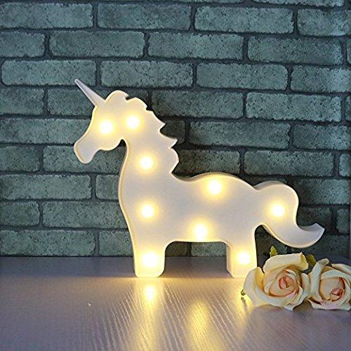 ichter Valentine Romance Atmosphäre Nacht Lichter Tischlampe Fairy Lights für zu Hause Hochzeit Weihnachten Geburtstag Party Urlaub Geschenk Dekoration Kinderzimmer (Weißes Einhorn) (Mantel Dekorationen Für Weihnachten)
