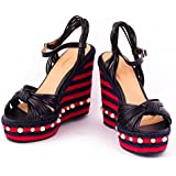 e19b8a9f5909 Dech Barrouci Class Red Wedge Heels High Heels Comfortable Fit Ladies  Sandals Girls Sandals Heels Party