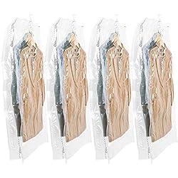 TAILI Sacs de Rangement sous Vide Suspendu & Solide Lot de 4 Housse de Rangement sous Vide avec 5 Crochets 4 Long 135x70x38cm 80% Gain de Place Idéal pour Ranger Vêtements - Transparent