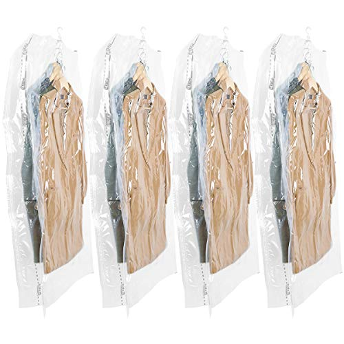 Aufrecht Reise-set (TAILI Hängend Vakuumbeutel Mit Kleiderhaken .Mit Verbreiterter Reißverschlussseite. Aufbewahren von Kleidungen und Jacken.Vakuum Platzsparer für Zuhause & Reise.4 TLG Set (135x70x38 cm),Transparent)