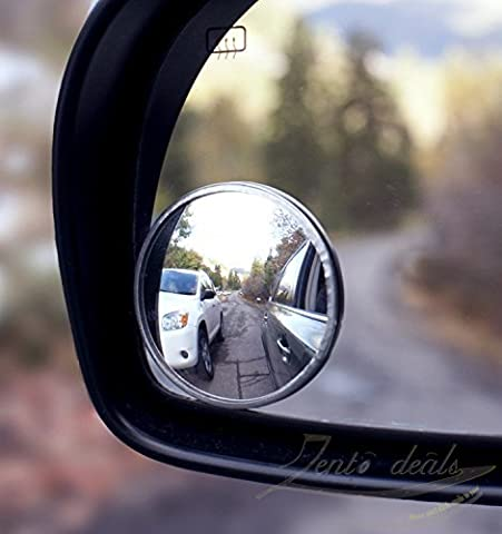 Zento Deals Pack of Two 2 Inch Stick-on Rearview Blind Spot Mirrors Aluminum Border Thin Car