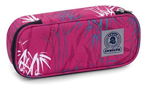 Bustina round plus invicta twist , leaves , blu e rosa , scomparto attrezzato per penne