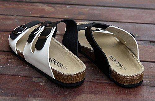 Sandali Unisex Adulto - Ciabatte Donna - Infradito Pantofole Uomo Bianco Nero