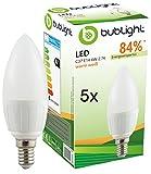 5x Bublight LED Lampe E14 6W, ersetzt 40W Glühbirne, Energieklasse A, 2700 Kelvin warmweiß (E-A++)