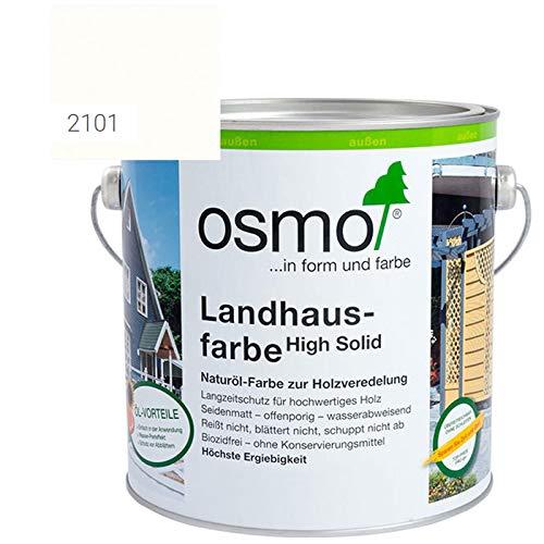 OSMO Landhausfarbe High Solid, hochdeckende Holzfarbe, 2101 weiss, Sondergröße 1 Liter