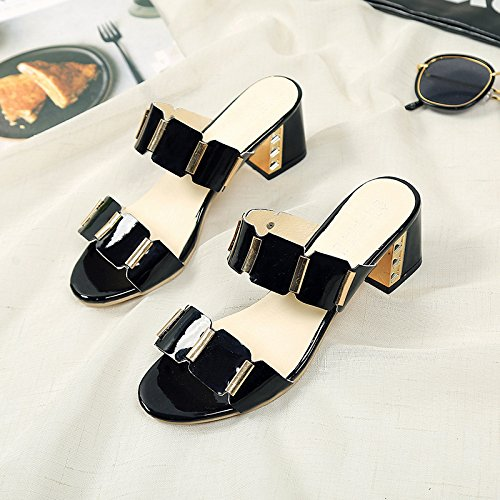 ZYUSHIZ Sandalen Hausschuhe Sommer Frau Outdoor minimalistischen Koreanische Version Schwarz