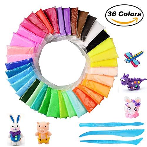 BESTZY Fluffy Slime Kit - 36 Colores Arcilla de modelar, Secado al Aire y Ultraligero, Juguetes educativos para niños, artesanías perfectas y Regalos para niños y niñas