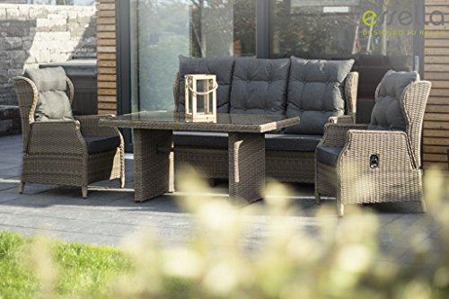 Polyrattansessel und Polyrattan-Sofa mit verstellbaren Rückenlehnen für draußen