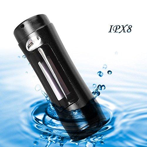 E-Plaza tragbar 4GB Aluminiumlegierung Shell wasserdicht IPX8 MP3 Musik-Player mit FM-Radio und OLED-Display + Armbinde für Unterwasser-Schwimmen Sport Surfing – Schwarzc