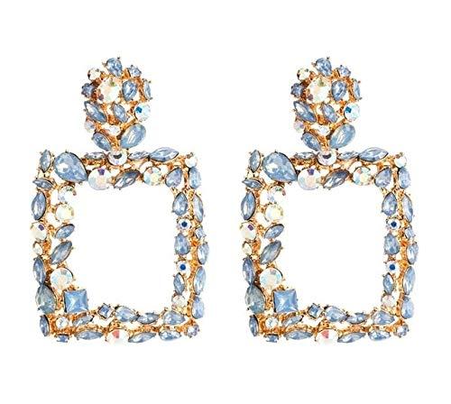 Jindkaskja Ohrringe 2 Paare Retro Geometric Platz Bohreinsätze Ohrringe (weiß) `` ` Ohrstecker (Farbe : Blue)