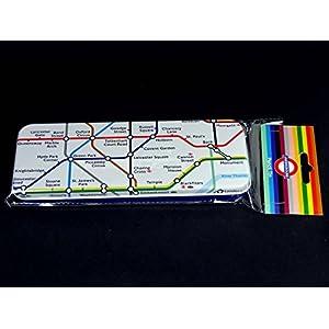 Estuche – tubo de metro mapa encima y colada subterránea en la parte inferior, hecho de estaño