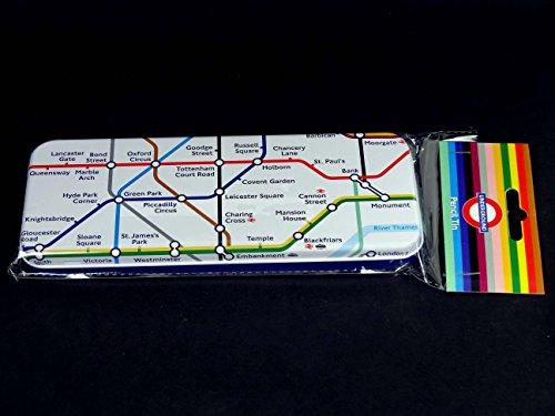 Astuccio con motivo: Metropolitana di Londra, Mappa Tube sulla parte superiore e cartello della metropolitana di base, in scatola di latta