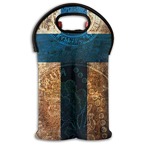 Neoprene Wine Tote Bag Insulated Finland Flag Gold Coin Travel Padded 2 Bottle Wine/Champagne Cooler Carrier Halloween-coin-set