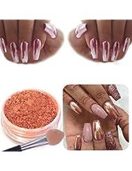 Tefamore Sexy Rose Or Nail Mirror Powder Glitter Chrome Powder Art Décoration