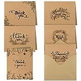 TUPARKA 36 Stück Dankeskarten Kraftpapier thank