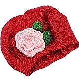 Rojo Folr Sombrero Gorro de Punto Gorro de Lana Crochet Boina Para Bebés Niños 6 Meses a 2 Años