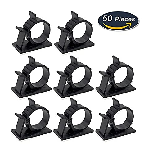 50 Pack Adhesive Cable Clips Wire Management Cable Tie Holder for Car, Office and Home