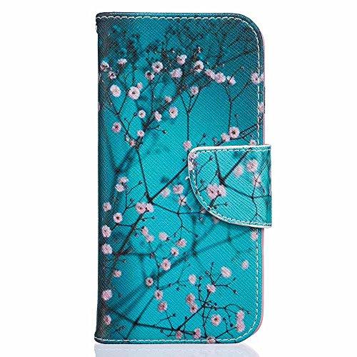 iPhone 8 Custodia Pelle [Protezione schermo libera], Billionn Tessuto Denim e Fodera in Pelle Cover Disegno Supporto Stand, Porta Carte e Protettiva Flip Portafoglio Case con chiusa Magnetica per iPho Fiore di prugne